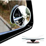 Moko Rearview Blind Spot Mirror, [2 Pack] Round HD Glass Convex Rear View Mirrors, Rotatable & Adjustable, Stick-on Design, for All Universal Vehicles Car SUV Truck Rvs Vans