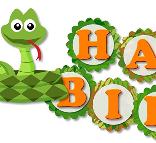 (Reptile Snake Banner - HAPPY BIRTHDAY - Garland Bunting Party Decoration - Handmade in)