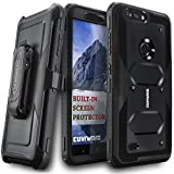 zte zmax swivel clip - COVRWARE [Aegis Series] case compatible with ZTE Blade Z Max (Z982)/Sequoia, with Built-in [Screen Protector] Heavy Duty Full-Body Rugged Holster Armor Case [Belt Swivel Clip][Kickstand], Black