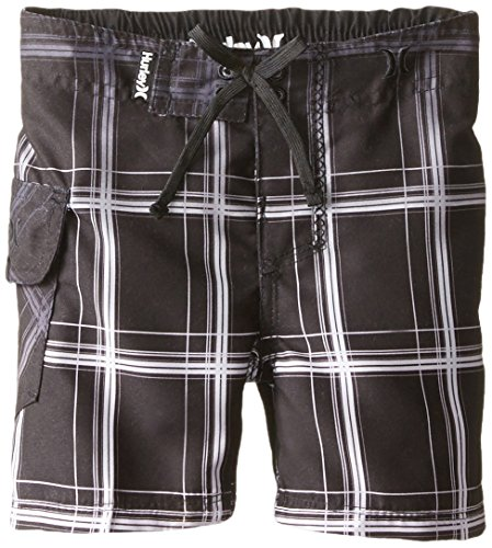 Hurley Baby Boys' Plaid Boardshort, Black, 24 Months