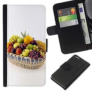 KingStore / Leather Etui en cuir / Apple Iphone 5C / Frutas Uvas Blancas