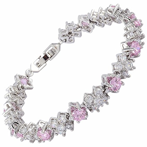 RIZILIA Blossom Tennis Bracelet & Round Cut CZ [Simulated Pink Sapphire] in White Gold Plated, 7