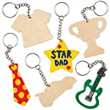 Wooden Keyrings for Children to Design Decorate and Give as Father's Day Gift (Pack of 8)