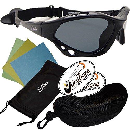 dd51e322f7 SeaSpecs Classic Jet Specs Black Extreme Water Sports Floating Sunglasses w  Semi Rigid Case Bundle (5 Items) + Flex Clip Case + Soft Carry Pouch + Lens  ...