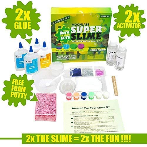 MoonLabs SUPER SLIME- All inclusive Slime Supplies Slime Kit- FREE Foam Putty-Make Glow in the dark, Colored, Glitter, Foam, Beaded, etc. EDUCATIONAL FUN!! (NO SCENT)