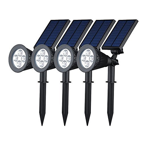 [Upgraded 2 in 1 Installation]GMFive 4 Pack Solar Super Bright Outdoor LED Spotlight for Patio,Landscape, Garden, Driveway, Yard, Lawn, Accents, Security Lighting, Pool Area, Etc ()