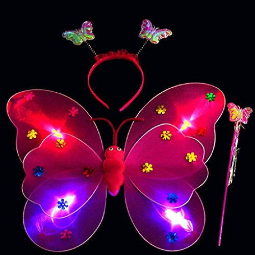 [Ecurson 3pcs/Set Girls Led Flashing Light Fairy Butterfly Wing Wand Headband Costume Toy (Hot Pink)] (Fairy Bread Costume)
