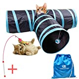 Kitty Tube Cat Tunnel Toys with Bonus Teaser Wand Interactive Toys& Gift Package ,3 Way Cat House with Built-in Crinkle Crackle Paper & Ball Puppy Play Tunnel Toys