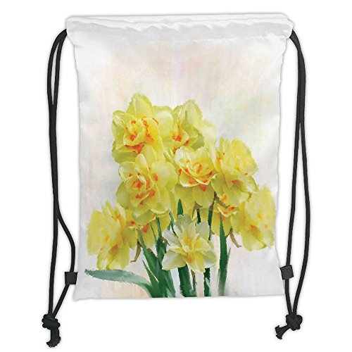 Custom Printed Drawstring Sack Backpacks Bags,Daffodil,Digital Watercolors Paint of Daffodils Bouquet Called Jonquils in England Lily,Yellow Green Soft Satin,5 Liter Capacity,Adjustable String Closure