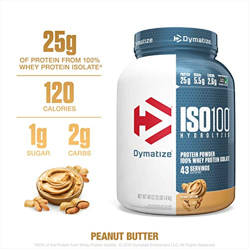 Dymatize ISO100 Hydrolyzed Protein Powder, 100% Whey Isolate Protein, 25g of Protein, 5.5g BCAAs, Gluten Free, Fast Absorbing, Easy Digesting, Peanut Butter, 3 Pound