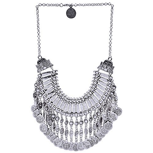 Aaishwarya Antique Silver Bohemian Etched Coin Statement Necklace For Women/Girls