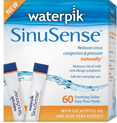 Waterpik SWP 060 Sinusense 60 Count Soothing Saline Packs With Aloe Vera and Eucalyptus, Blue/white