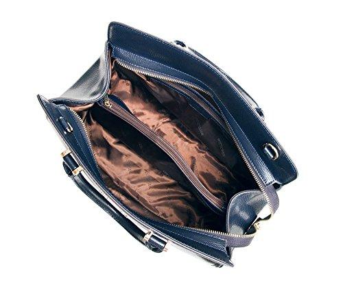 4E Pelle 27x35cm Materiale 85 Dimensione Blu 412 Accomoda Borsa di grano No 7 elegante A4 Marino Wittchen 6x01qg