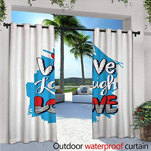 Live Laugh Love Indoor/Outdoor Single Panel Print Window Curtain W96 x L108 Abstract Grunge Graffiti Happiness Invoking Message Wall Art Design Silver Grommet Top Drape Blue Red Black