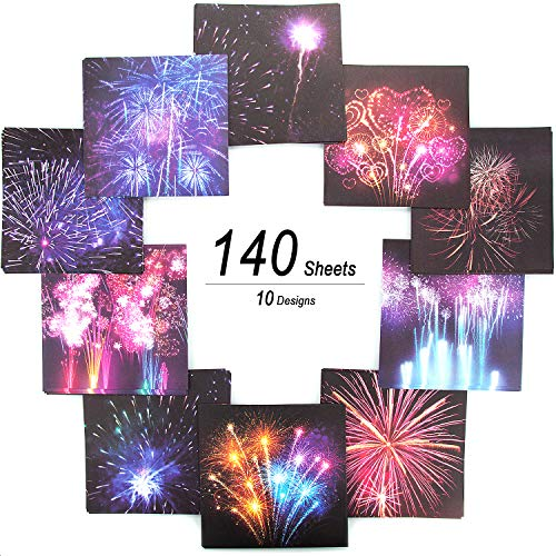 CenterZ 140 Sheets Origami Paper, 6x6 inches 10 Fireworks Patterns Square Handicraft Fold Paper for Arts and Crafts Folding Papers Projects -