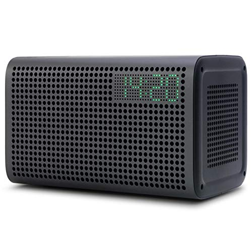 GGMM E3 Bluetooth WiFi Speaker Alexa Built-in Alexa Speaker HiFi 20W Rich Bass Stereo Sound Multi Room Play Smart Speaker Airplay Speaker with LED Clock Alarm Setting USB Charging Port (Black) (Best Airplay Alarm Clock)