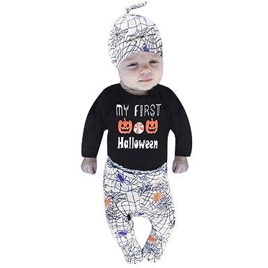 Ropa De Bebé Venta De Liquidación Ropa De Bebé Set para 0-24 Meses 3 Piezas Conjunto De Halloween Mangas Largas Camiseta Tops Pantalones Sombrero Outfit: ...