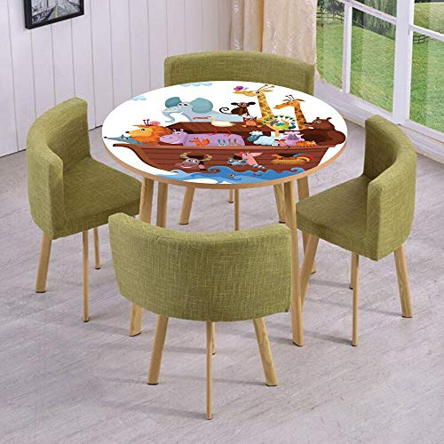 (Round Table/Wall/Floor Decal Strikers/Removable/Happy Animals in Noahs Ark Clipart Religion Theme Waves Clouds Artwork Print/for Living Room/Kitchens/Office Decoration)