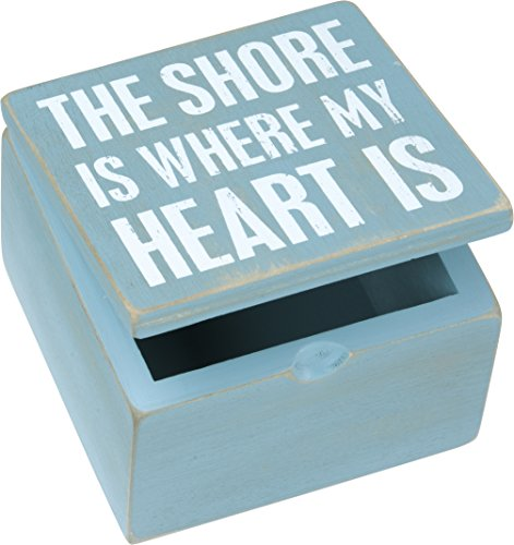 The Shore Is Where My Heart Is - Primitives by Kathy 4 x 4 Decorative Storage Box (Storage Box Ocean)