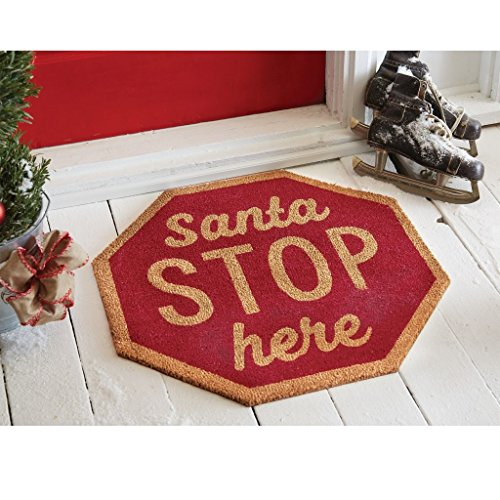 Mud Pie Christmas Woven Coir Floor Door Mat Santa OR North Pole 4125005 (Santa STOP Here)