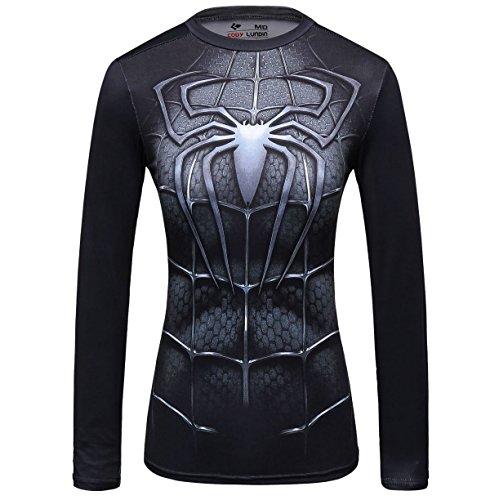 (Red Plume Women's Compression Short-Sleeved T-Shirt Yoga Sport Spider Shirt Fitness Short Sleeve for Women ... Black)