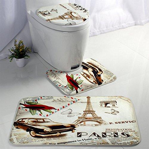 3 Pieces Essence Bath Rug Set Pattern Large Contour Mat & Lid Toilet Cover & Bathroom Rug (Paris)