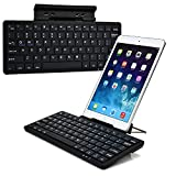 Cooper Cases(TM) K2000 Lenovo Miix 2 8, 3 8, 2 10, 3 10.1, 2 11 Bluetooth Keyboard Dock in Black (US English QWERTY Keyboard, Built-in Viewing Stand, Android / iOS / Windows compatible)