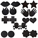 JOVIVI® Satins Disposable Pasties Nipple Cover, Different Style Set (Black Color 9 Pairs Set)