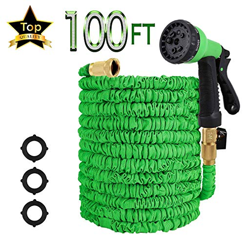 WYEWYE 100ft Garden Hose, All New Expandable Water Hose with 8-Pattern Sprayer Nozzle,Double Latex Core, 3/4″ Solid Brass Fittings, Extra Strength Fabric – Flexible Expanding Hose