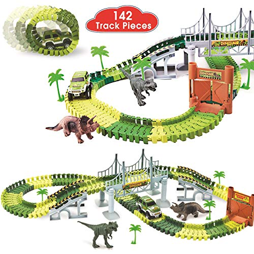 (ShinePick Dinosaur Race Car Track Train Toys Create A Road Dinosaur World Bridge Track Toys Playset with 142 Pieces Tracks, Dinosaur Toys and Toy Car, Perfect Christmas & Birthday Gift for Kids)