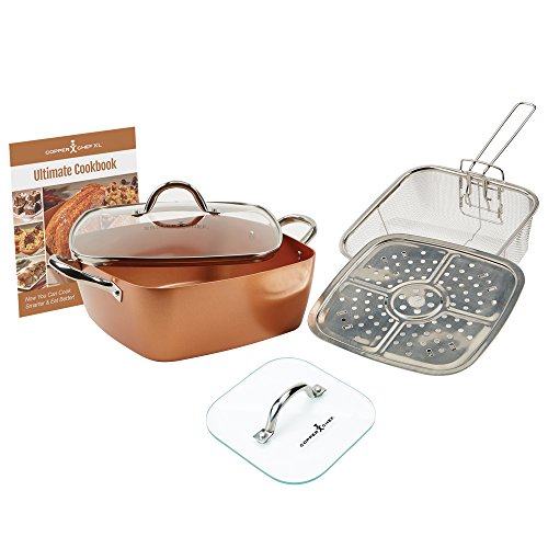 "Copper Chef Casserole Pan Set: 4-Piece XL 11"" Casserole Pot w/Glass Lid, Fry Basket, Steam & Roasting Rack & Glass Press Lid Set