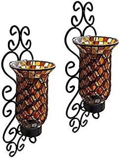 American Atelier Set Of 2 Mosaic Glass Wall Sconce Hurricane Candleholder  sc 1 st  Amazon.com & Amazon.com: American Atelier 1330246 Mosaic Glass Wall Candle Sconce ...