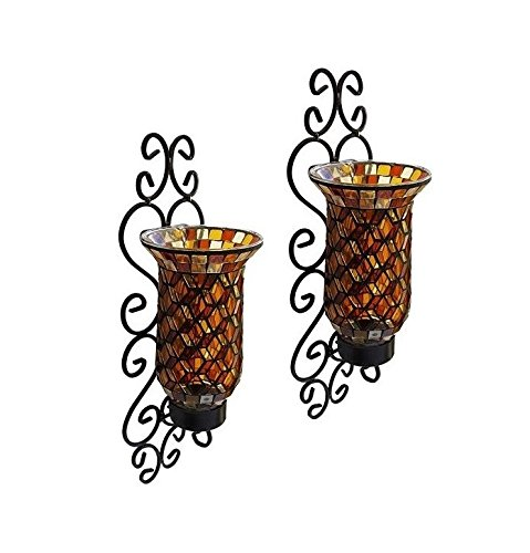 American Atelier Set Of 2 Mosaic Glass Wall Sconce Hurricane Candleholder