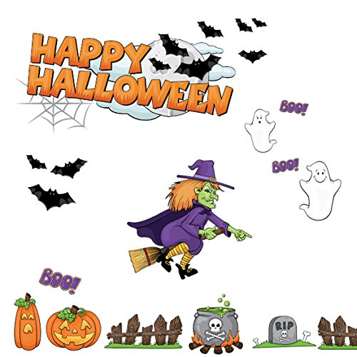 Happy Halloween Scary Assorted Decals including Ghosts, Witch, Bats, Pumpkins Wall Decals Peel and Stick Removable Reusable Decoration (Halloween Pumpkins Peel And Stick Wall Decals)