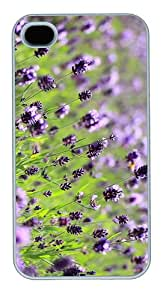 case awesome cover lilac lavender field PC White Case for iphone 4/4S