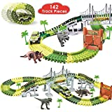 BlueFire Dinosaur World Race Car Track Train Toys Create A Road Dinosaur Track Toys Playset with 142 Pieces Tracks, Dinosaur Toys and Toy Car, Perfect Christmas & Birthday Gift for Kids