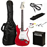 RockJam 6 String ST Style Electric Guitar Super Pack with Amp, Gig Bag, Strings, Strap, Picks, Red (RJEG02-SK-RD)