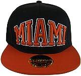 Miami Flat Bill Adjustable OSFA Snapback Baseball Hat Cap with Snap Back Enclosure and