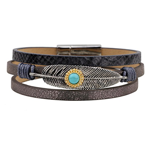 Winter's Secret Turquoise Alloy Feather Pattern Hand Braided Grey Leather Wrap the Magnet Clasp - Outlet Ms Pearl