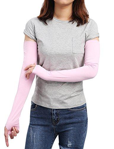 Sheeper Womens Arm Warmer Sleeve Sun Block Stretchy Long Fingerless Driving Gloves (Pink)