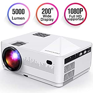 DBPOWER L21 LCD Video Projector with Carrying Case, 6000L 1080P Supported Full HD Projector Mini Movie Projector with…