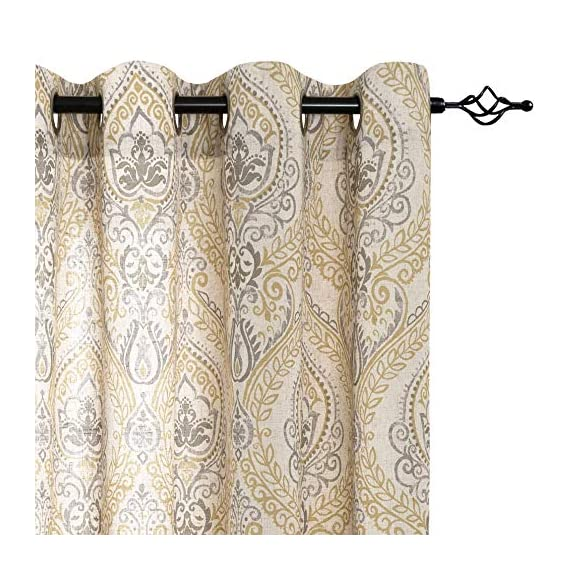 """jinchan Damask Printed Curtains for Bedroom Drapes Vintage Linen Blend Medallion Curtain Panels Window Treatments for Living Room Patio Door 1 Pair 84"""" Yellow - Package includes 2 Damask Printed Light Filtering Curtains. Each measures 50""""width by 84"""" length. Available in six colors. Flaunting a large damask print in vivid colors, this beautiful panel pair creates a striking contrast, for a stylish and eye-catching look. Fabric reduce up to 50% of sunlight, letting you enjoy a serene and comfortable internal environment during any time. - living-room-soft-furnishings, living-room, draperies-curtains-shades - 51iW VJeLHL. SS570  -"""