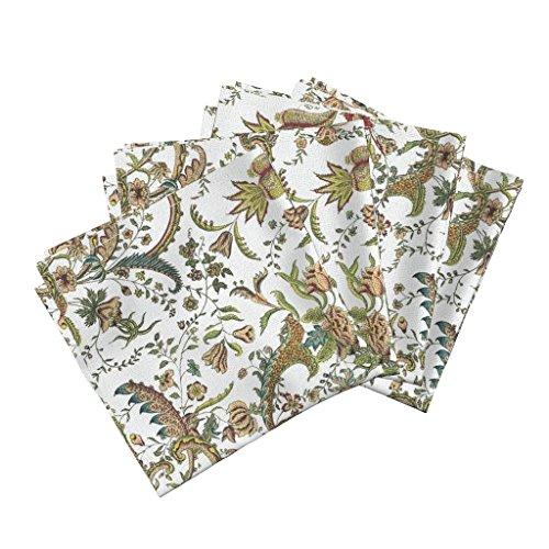 (Roostery Vintage Floral Organic Sateen Dinner Napkins Antique Floral Home Decor Floral Flowers Damask Ornate Botanical Leaf Victorian Edwardian by Peacoquettedesigns Set of 4 Dinner Napkins)