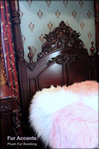 Fur Accents Faux Fur Twin Size Bedspread / Throw Blanket / Luxury Mongolian Long Hair Faux Fur / Cotton Candy Pink and White Large Patchwork Quilt Squares / 60'' X 90'' Twin Size by Fur Accents