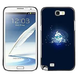 YiPhone /// Prima de resorte delgada de la cubierta del caso de Shell Armor - Pisces Fish Zodiac Sign - Samsung Galaxy Note 2 N7100