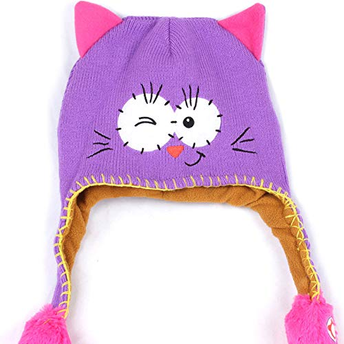 Little Kids Winter Warm Hat,Jchen(TM) Lovely Cartoon Animal Hat Cap Toddler Baby Girls Boys Winter Warm Hat Children Knitted Cap (Purple)
