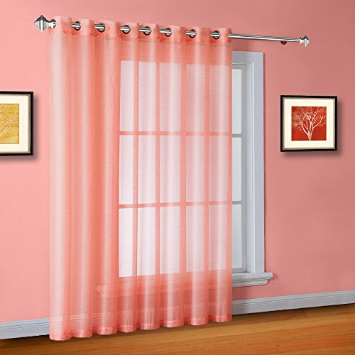 Warm Home Designs 1 Extra-Wide Coral Pink (Light Orange) Sheer Patio Curtain Panel 102 x 84 Inch Long. Designed as Patio Door, Sliding Glass Door, or Room Divider Drape - K Patio Coral 84