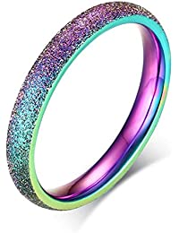 Stainless Steel 3mm Sand Blast Finish Rainbow Classic Dome Ring for Women