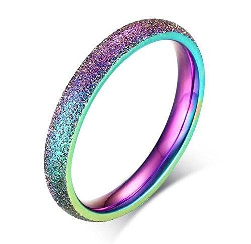 Amkaka Stainless Steel 3mm Sand Blast Finish Rainbow Classic Dome Ring for Women
