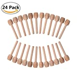 24 Pack Mini Wood Honey Dipper Sticks Server for Honey Jar Dispense Drizzle Honey and Wedding Party Favors - 3 Inch Individually Wrapped